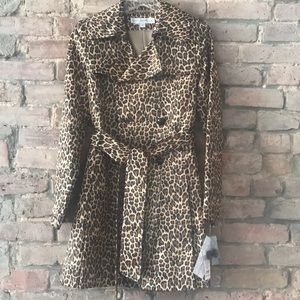 New w/ tags VIA SPIGA leopard trench rain coat